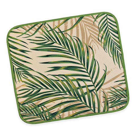 Palm Fronds Dish Drying Mat In Green