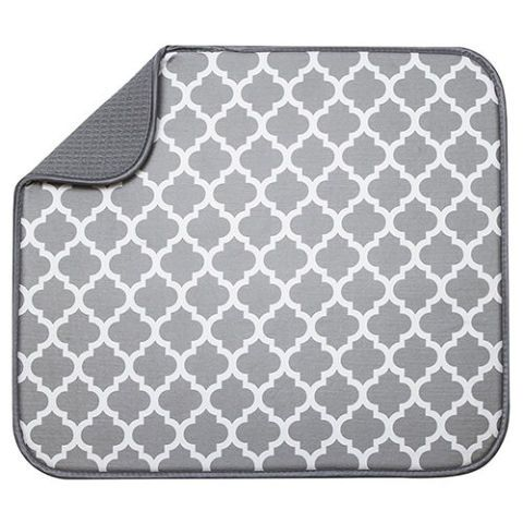 White Trellis Microfiber Dish Drying Mat