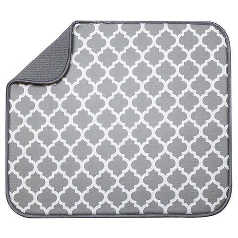 White Trellis Microfiber Dish Drying Mat