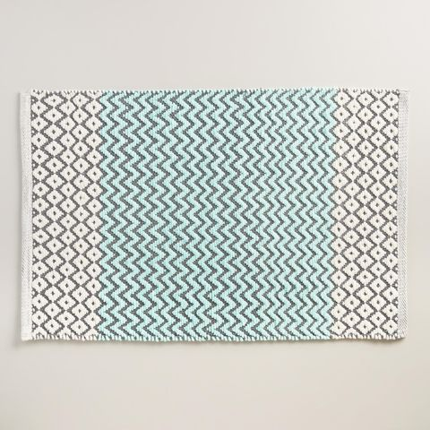 World Market Aqua Chenille Chevron and Diamond Bath Mat