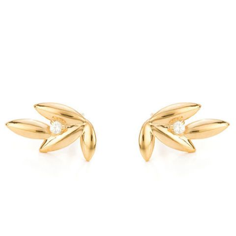 mejuri olive branch gold and cubic zirconia stud earrings