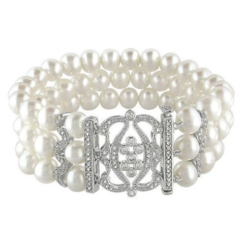 miadora three row pearl bracelet with silver and cz