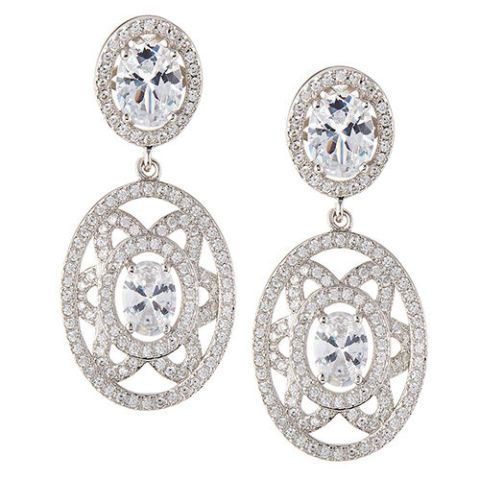 fantasia by deserio crystal floral oval drop earrings