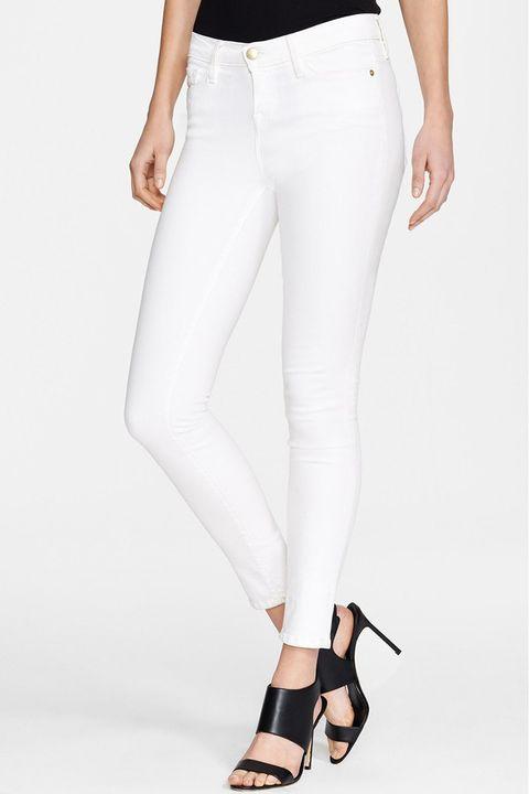 frame le color white skinny jeans
