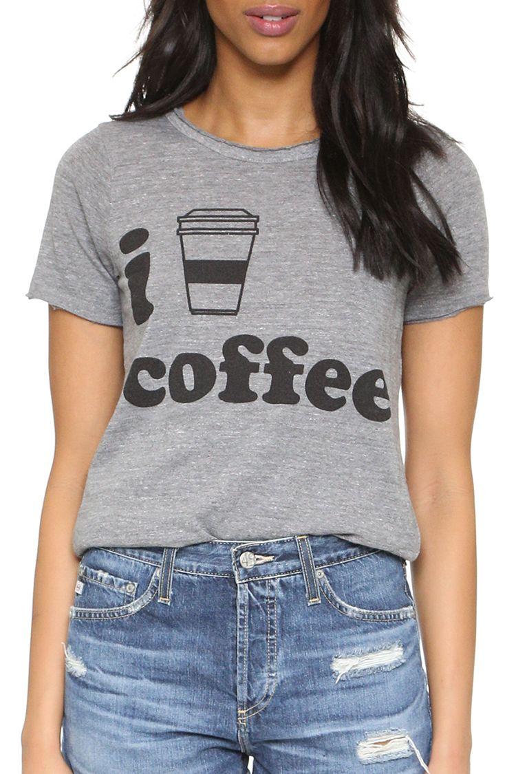 chaser i love coffee graphic tee shirt gray