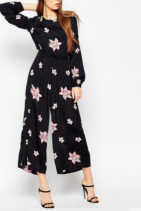 ASOS Floral Jumpsuit with Cut Out Back