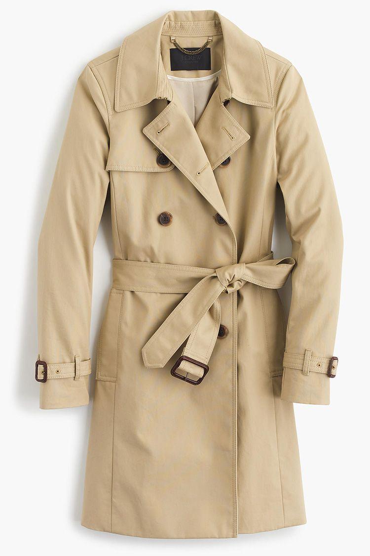 j. crew icon trench coat in light khaki