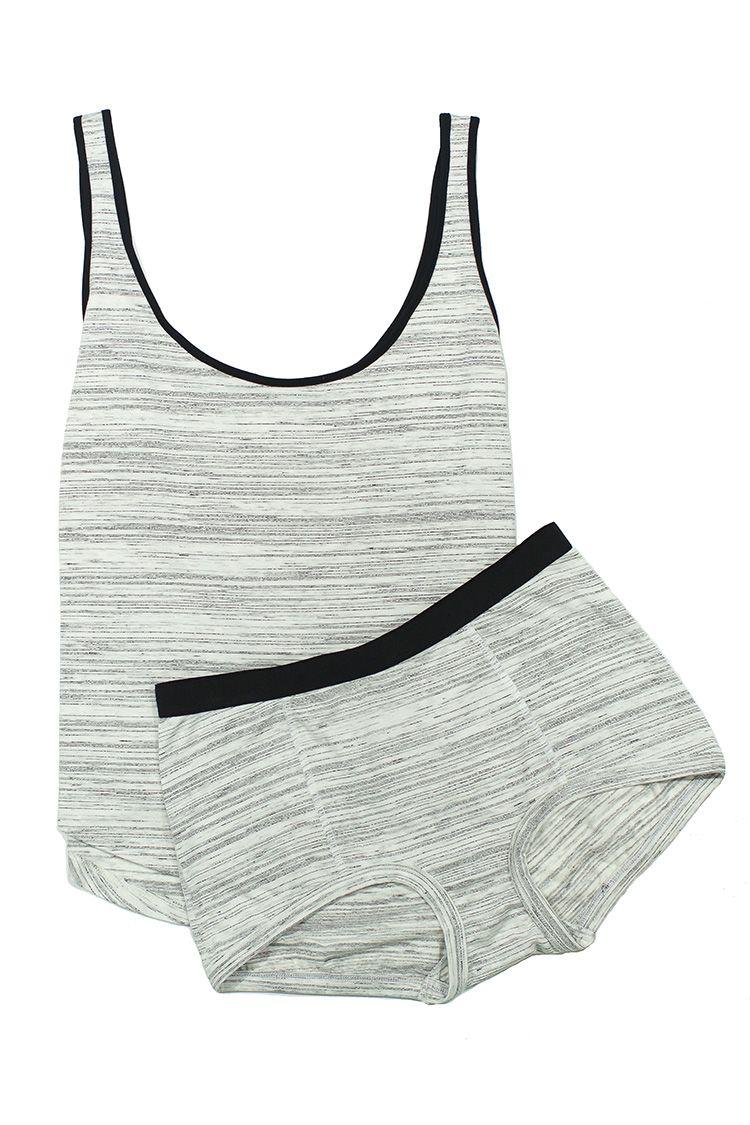maison du soir space dye tank and shorts set in gray