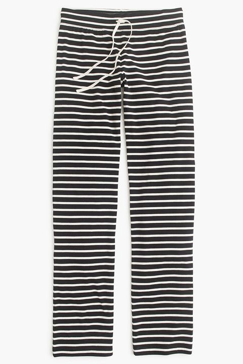 j. crew dreamy cotton striped lounge pants in black and white
