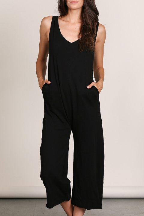lunya hazel pima cotton romper in black