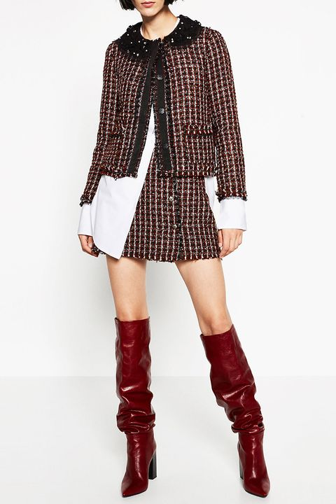 zara tweed jacket and buttoned mini skirt in red and black
