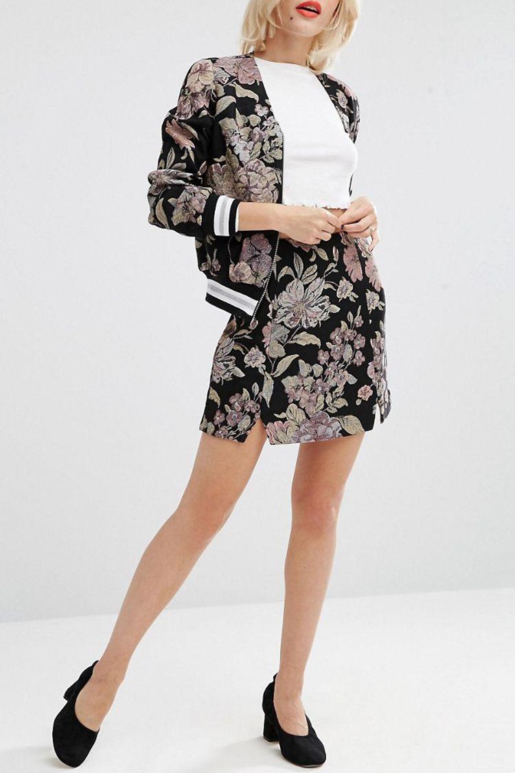 asos floral jacquard bomber jacket and mini skirt