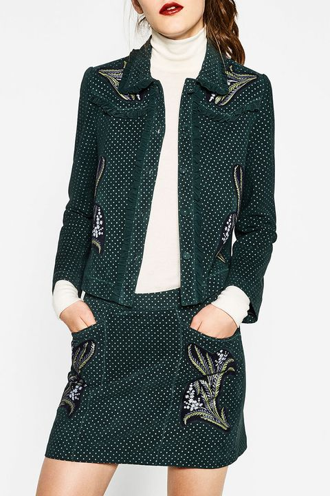 zara printed leather jacket and skirt in green