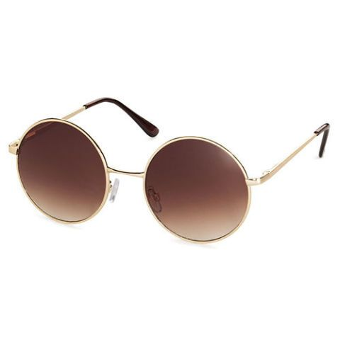 h&m round sunglasses in gold and brown