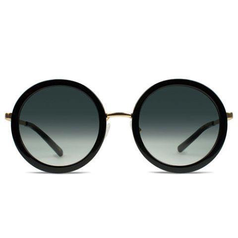 vint and york round moll sunglasses in black