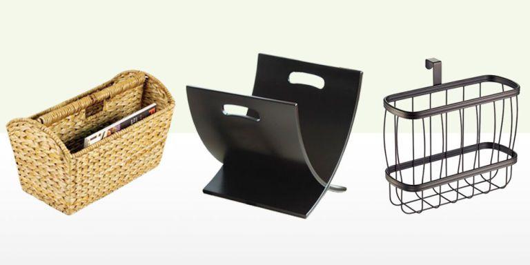Bamboo Wooden Storage Basket with Handle M/&W Brown Living Room Reading Storage Rack Magazine /& Newspaper Rack