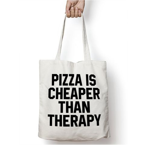 "<p><strong data-redactor-tag=""strong""><em data-redactor-tag=""em"">$7</em></strong>&nbsp;<a href=""https://www.etsy.com/listing/451354458/pizza-is-cheaper-than-therapy-tote-bag?"" target=""_blank"" class=""slide-buy--button"">BUY NOW</a> </p><p>This bag speaks the truth. Because, let's face it, there's nothing better (or cheaper for that matter) than a delicious slice of pizza. Pizza listens. Pizza cares. And most of all, pizza makes you feel better. We'd take that over psychotherapy any day. </p><p><strong data-redactor-tag=""strong"">More:</strong> <a href=""http://www.bestproducts.com/lifestyle/g1773/food-themed-desk-accessories/"" target=""_blank"">15 Food-Themed Accessories for Your Desk</a></p>"