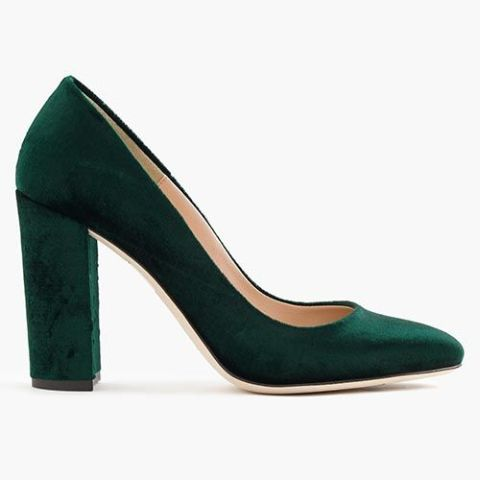 j. crew green velvet pumps