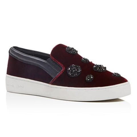 michael kors embellished plum velvet slip on sneakers