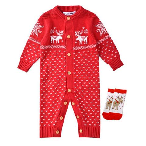 Baby Christmas Outfit Reindeer Sweater Onesie - 15+ Best Baby Christmas Outfits For 2018 - Baby Boy & Girl Christmas