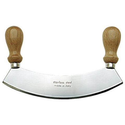 SCI Stainless Steel Rocking Mezzaluna Knife with Wood Handles