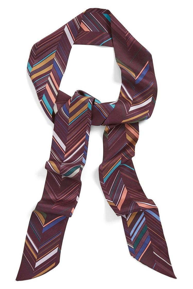 halogen chevron print silk skinny scarf in burgundy