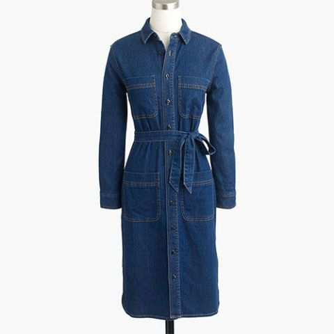 j. crew blue denim shirtdress