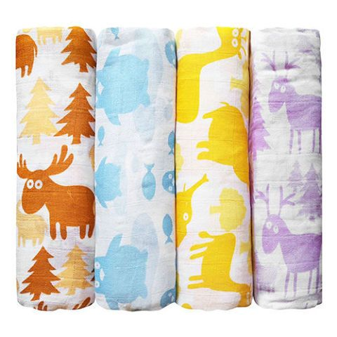 Muslin Colorful Critters Swaddle Pack