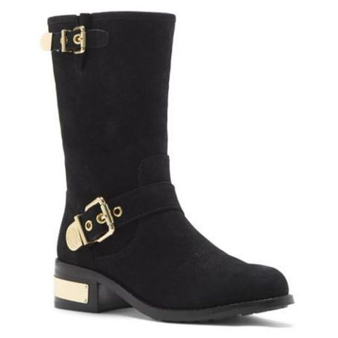 vince camuto winchel black and gold moto boots