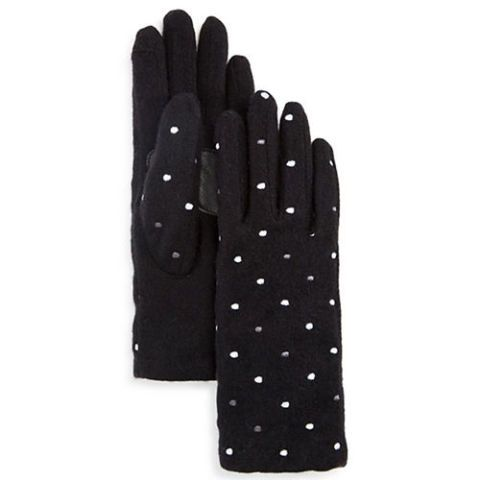 echo pop dot tech gloves in black and white