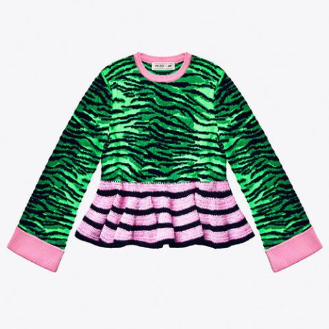 kenzo hm tiger print top green and pink