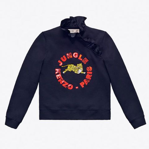 kenzo hm navy ruffle sweatshirt
