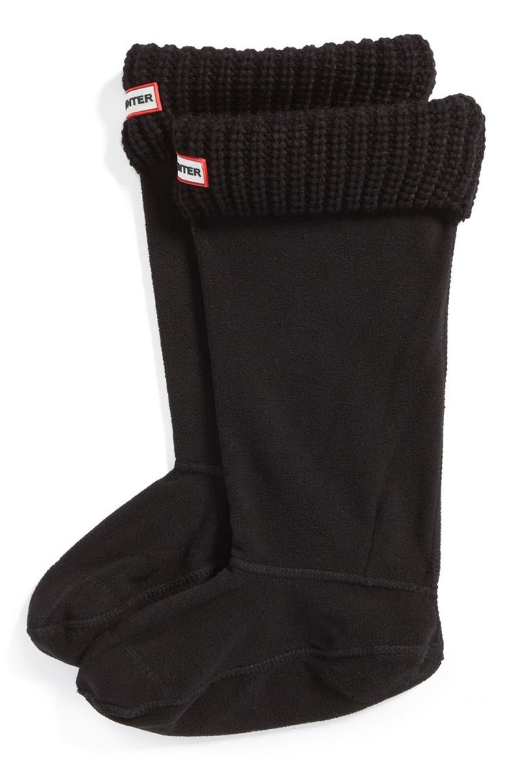 hunter knit cuff welly boot socks in black