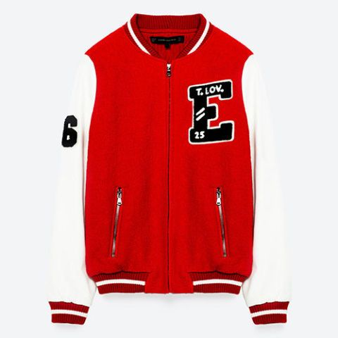 zara two tone red and white varsity jacket