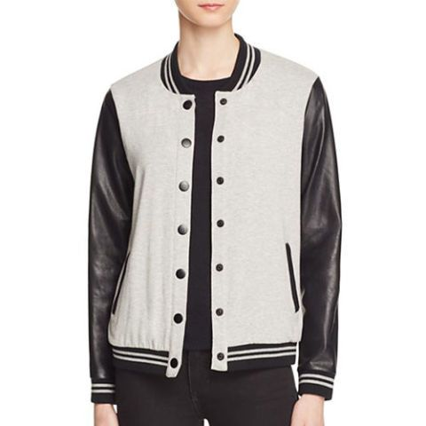 splendid varsity jacket in gray and black