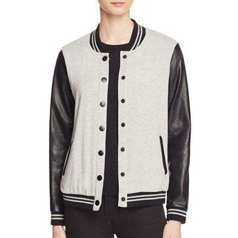 splendid varsity jacket in gray and black