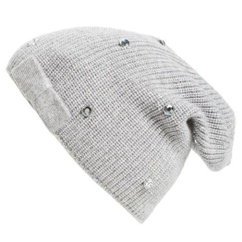 kate spade new york gray crystal beanie