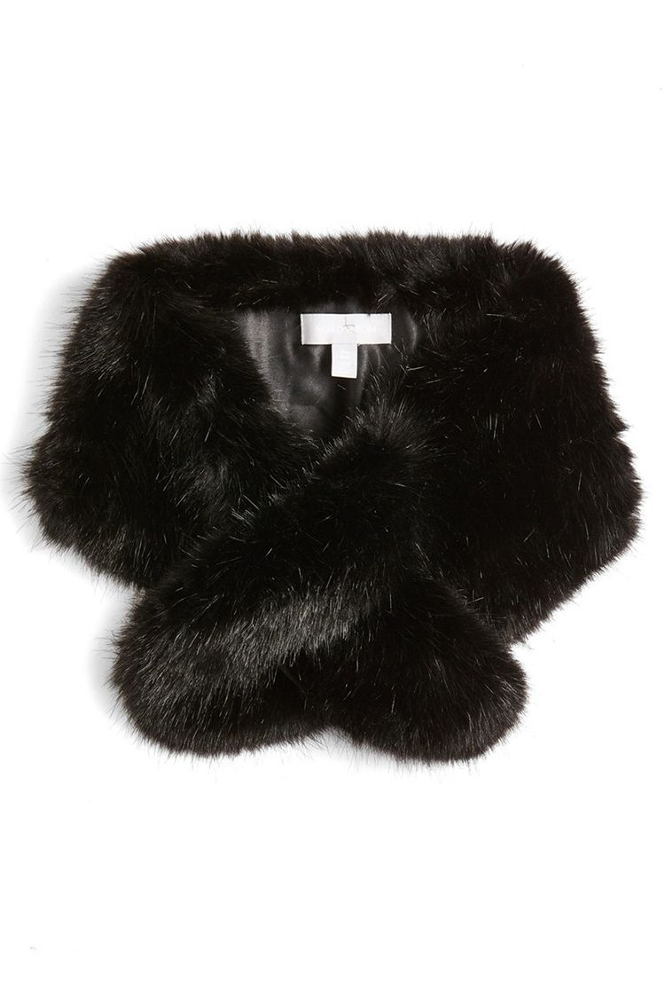 halogen faux fur black stole