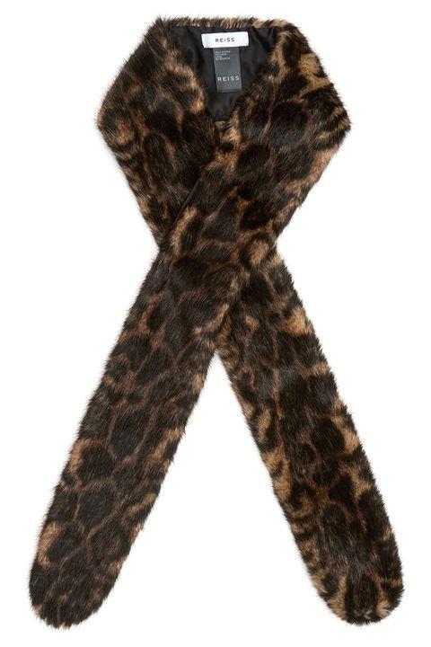 reiss leopard print faux fur scarf