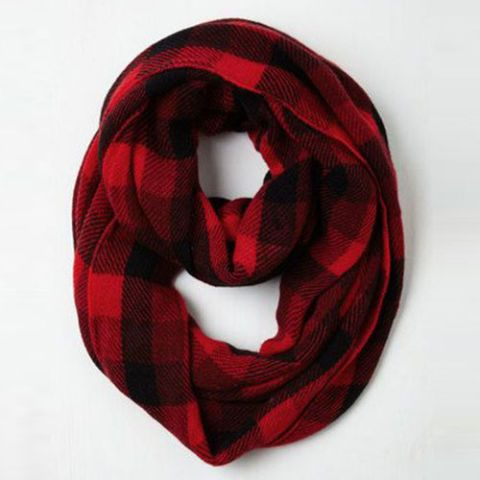 modcloth buffalo check plaid red and black infinity scarf