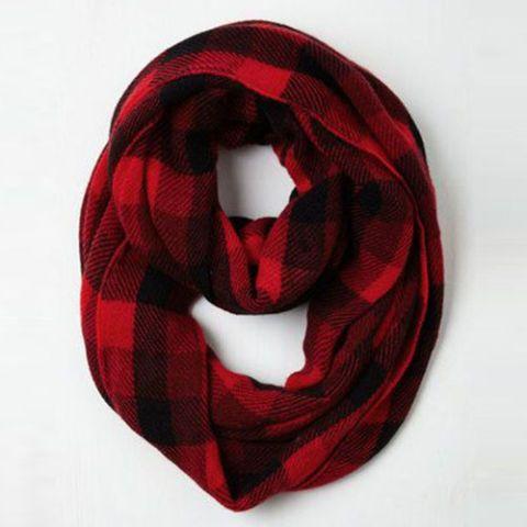 modcloth buffalo check plaid red and black infinity scarf