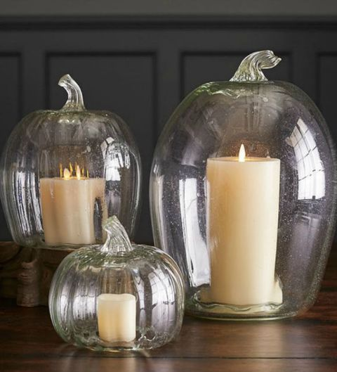 RECYCLED GLASS PUMPKIN CANDLE CLOCHES