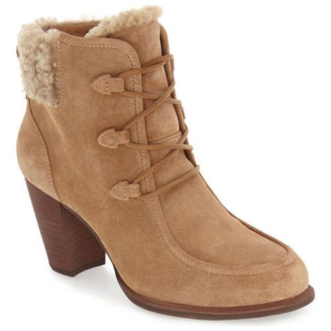 ugg analise tan shearling hiking boots