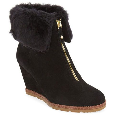 kate spade faux shearling wedge bootie black