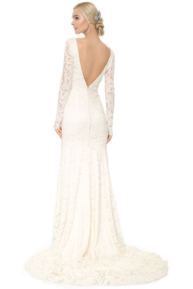 theia nicole long sleeve lace wedding gown