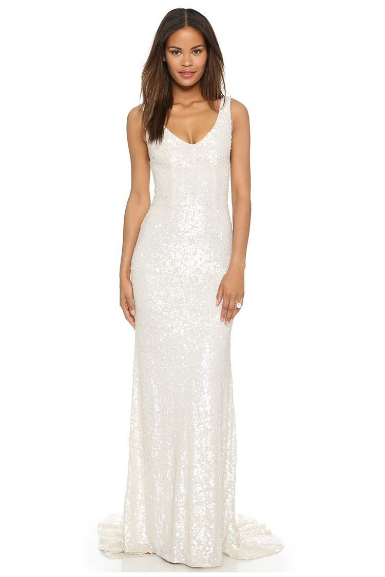theia harlow sequin sleeveless gown in white