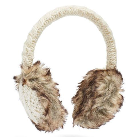 nirvanna cable knit faux fur ear muffs in white