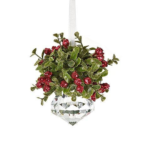kissing krystal small christmas mistletoe ornament - Mistletoe Christmas Decoration