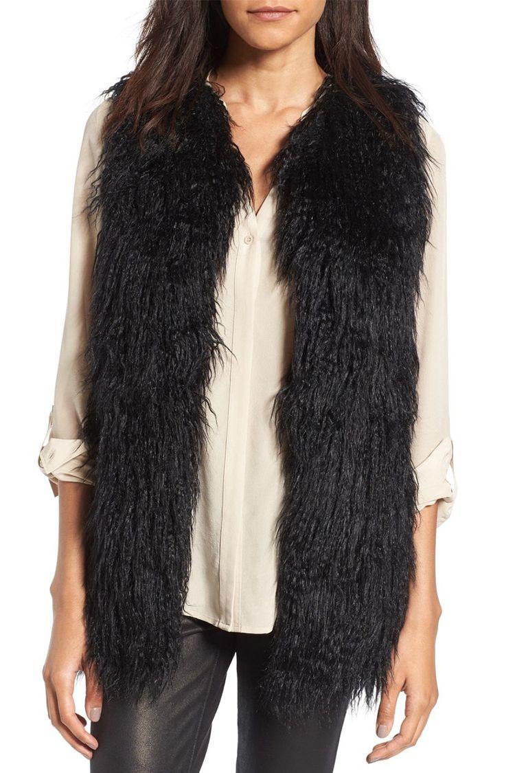 hinge black faux fur vest