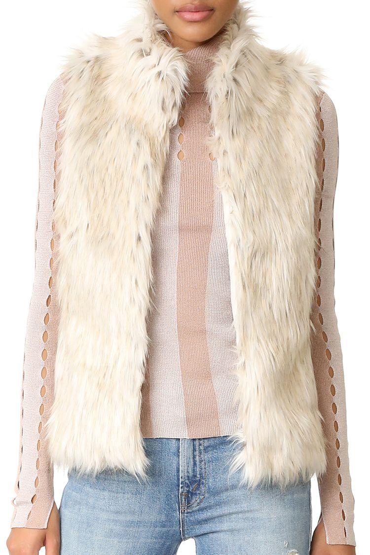 bb dakota brewer faux fur vest off white